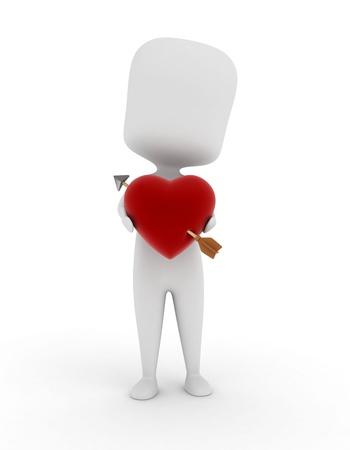 pierced: 3D Illustration of a Man Holding a Heart Pierced by an Arrow