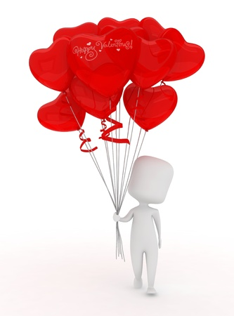 courtship: Illustration of a Man Holding a Bunch of Valentine Balloons