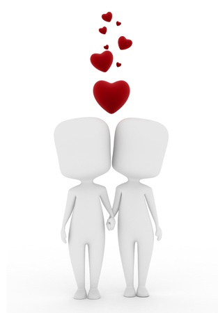 couple holding hands: 3D Illustration of a Man and Woman in Love