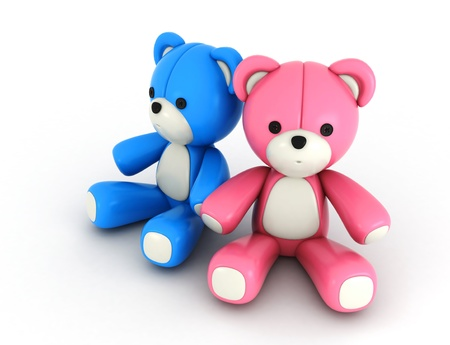 3D Illustration of His and Hers Bear Couple in Pink and Blue Colors illustration