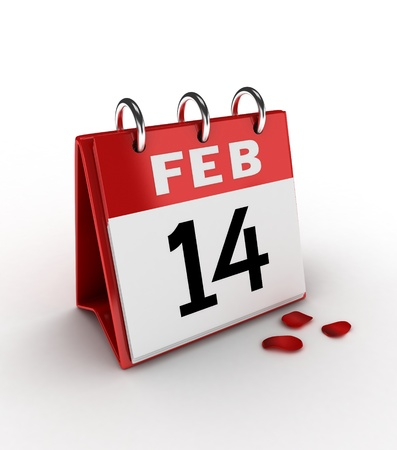 fourteenth: 3D Illustration of a Calendar Showing the Fourteenth of February