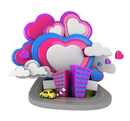 3D Illustration of an Urban Scene with Giant Heart-shaped Clouds in the Background illustration