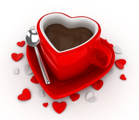 valentine day cup of coffee: 3D Illustration of a Heart-shaped Cup Surrounded by Heart-shaped Pieces of Paper