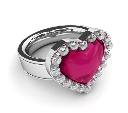3D Illustration of a Diamond Encrusted Ring with a Heart-shaped Ruby on Top illustration
