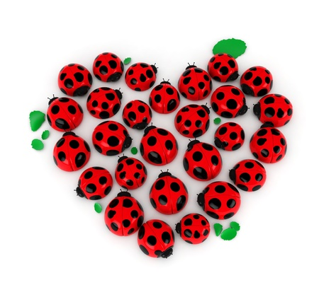 3D Illustration of a Group of Ladybugs Forming the Shape of a Heart illustration