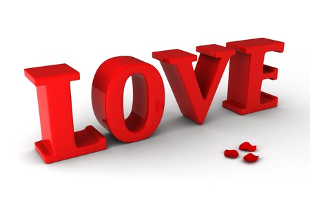 spelling: 3D Illustration of Giant Letters Spelling the Word Love Stock Photo