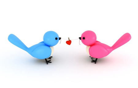 lovebirds: 3D Illustration of a Pair of Birds Holding a Piece of String with a Heart Clipped in the Middle Stock Photo