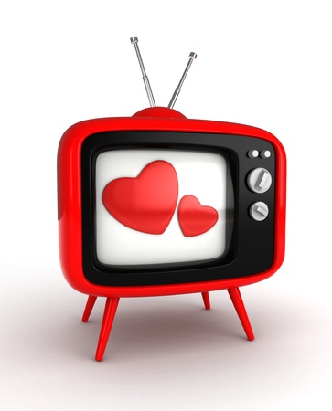 television screen: 3D Illustration of a Retro Television Set with Hearts Flashing From the Screen