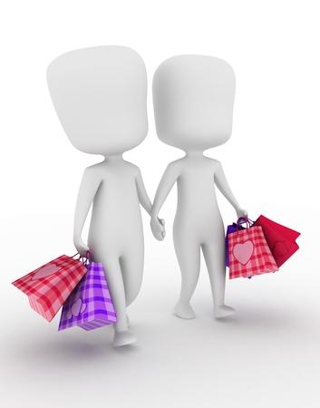 enamorados caricatura: Ilustraci�n de una pareja caminando al lado despu�s de ir de compras Foto de archivo