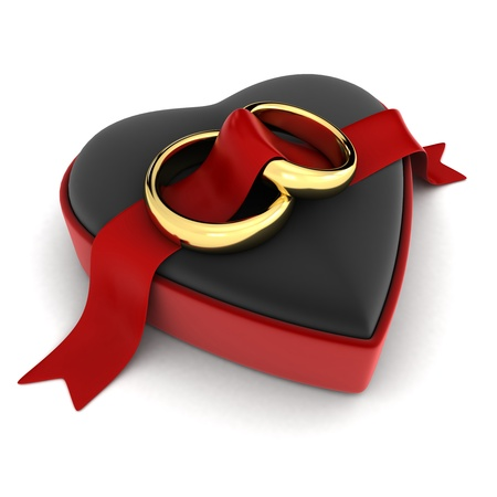 ring engagement: Ilustraci�n 3D de anillos de boda acostado en un joyero abierto Foto de archivo