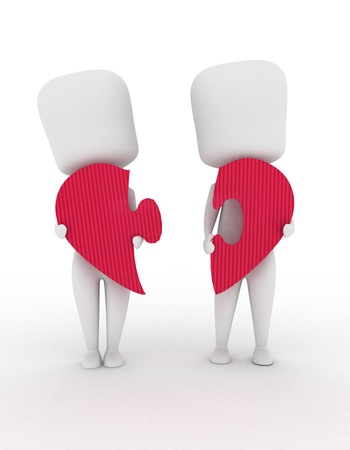 3D Illustration of a Man and Woman with Pieces of Puzzle illustration