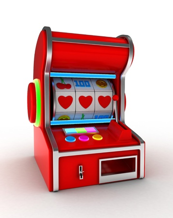 displaying: Illustration of a Slot Machine Displaying a Combination of Three Hearts