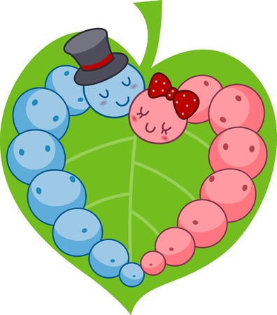 cuddling: Illustration of a Caterpillar Couple Forming the Shape of a Heart