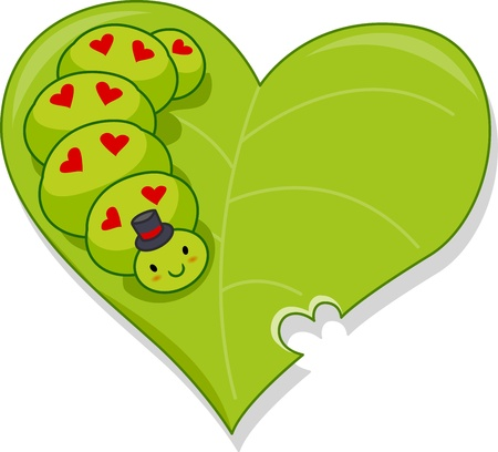crawly: Illustration of a Caterpillar Crawling on a Heart-shaped Leaf