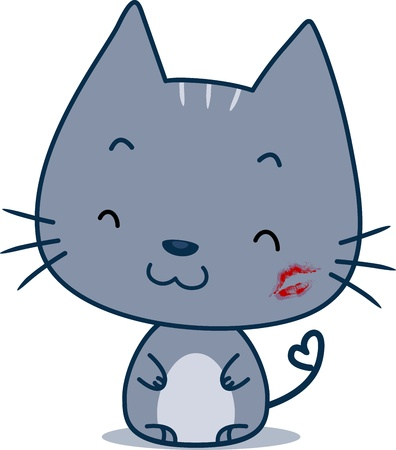 cheek: Illustration of a Cat with a Kiss Mark on Its Cheek Stock Photo