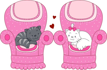 Illustration of a Pair of Cats Lying on Adjacent Seats illustration