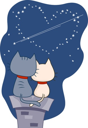 nestle: Illustration of a Pair of Cats Gazing at the Night Sky Stock Photo