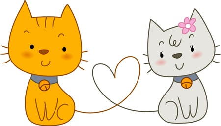 Illustration of a Pair of Cats with Tails Forming the Shape of a Heart illustration