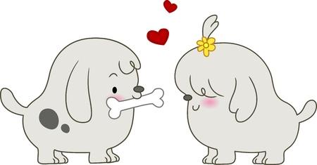mujer perro: Ilustraci�n de un perro macho, dando un perro femenino un trozo de hueso Foto de archivo