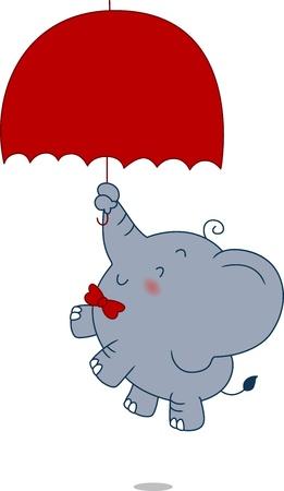 Illustratie van een olifant vallen uit de hemel
