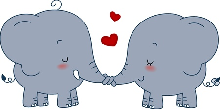 Illustration of a Pair of Elephants Doing a Nose Shake Stock Illustration - 8756740