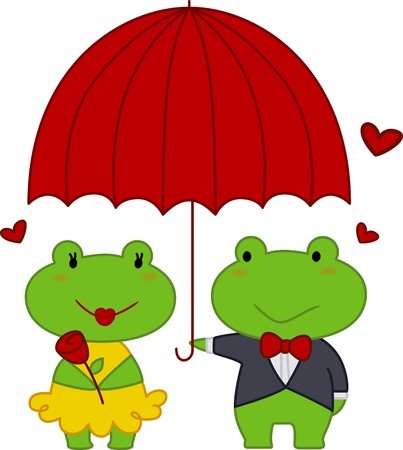 Illustration of a Male Frog Holding an Umbrella For the Female Frog illustration