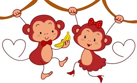 mono caricatura: Ilustración de un mono macho dando a un mono femenino un plátano