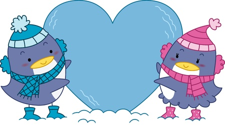 Illustration of a Penguin Couple Hugging a Heart-shaped Block of Ice illustration