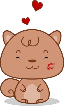 Illustration of a Squirrel with a Kiss Mark on its Cheek illustration