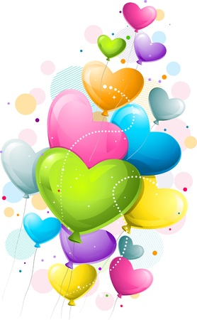 heartshaped: Illustration of Colorful Heart-shaped Balloons
