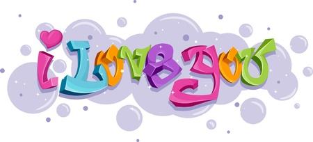 Graffiti con las palabras te amo Foto de archivo - 8756744