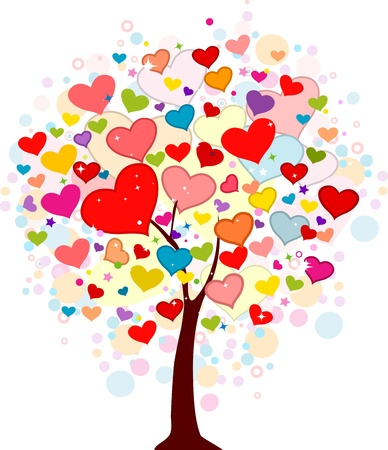 heartshaped: Illustration of a Random Tree Filled with Heart-shaped Leaves