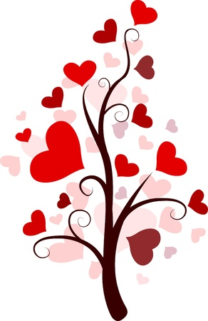 Illustration of a Random Tree with Heart-shaped Leaves