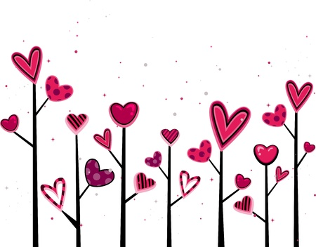 Illustration of Random Trees with Heart-shaped Leaves Stock Illustration - 8756796