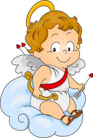Illustration of a Baby Cupid Carrying a Bow and Arrow illustration