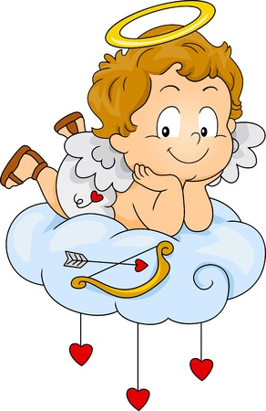 male angel: Illustration of a Baby Cupid Lying on a Cloud Stock Photo