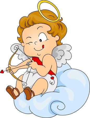 Ilustración de un bebé de Cupido preparándose para disparar Foto de archivo