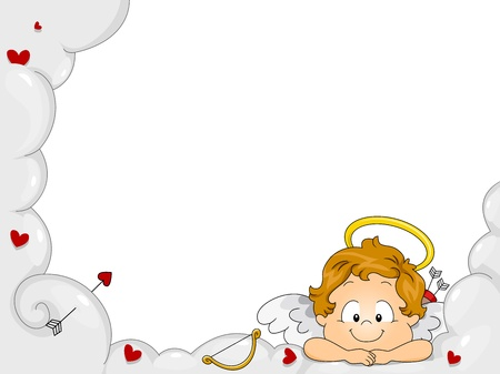 Illustration of a Baby Cupid Resting His Chin on His Arms illustration