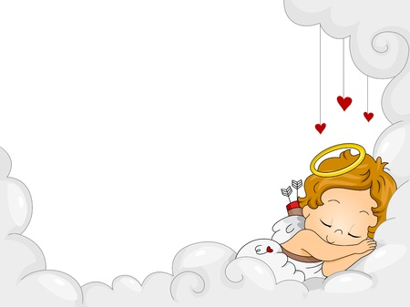 Illustration of a Sleeping Baby Cupid illustration