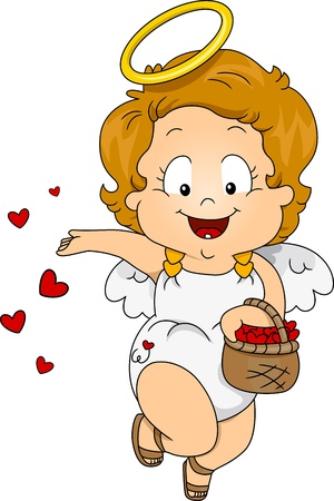 angel cartoon: Illustration of a Baby Cupid Scattering Petals Around