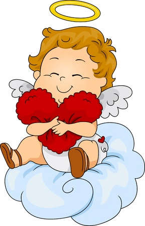 cupids: Illustration of a Baby Cupid Hugging a Heart