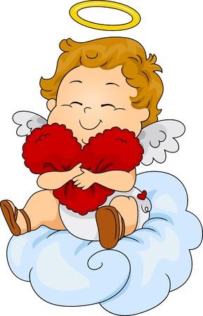 Ilustración de un bebé de Cupido abrazando un corazón Foto de archivo