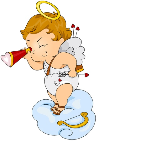 Illustration of a Baby Cupid Snooping on Other People