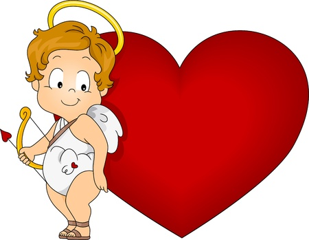 cupids: Illustration of a Baby Cupid with Heart Stock Photo