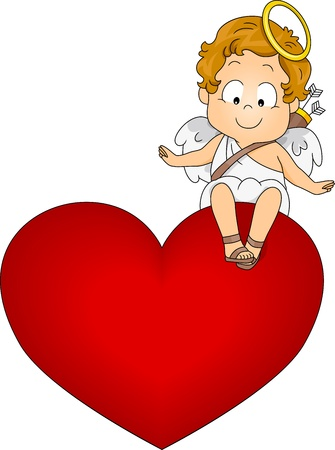 cupids: Illustration of a Baby Cupid Sitting on Top of a Heart Stock Photo
