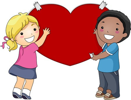chums: Illustration of a Pair of Kids Putting a Giant Heart on the Wall Stock Photo
