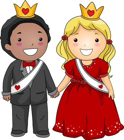 king and queen of hearts: Illustration of a Valentine Couple Holding Hands