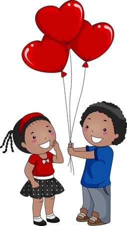 suitor: Illustrazione di un ragazzo dando palloncini per una ragazza Archivio Fotografico