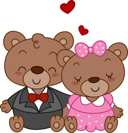 Illustration of a Pair of Bear Huddled Together illustration