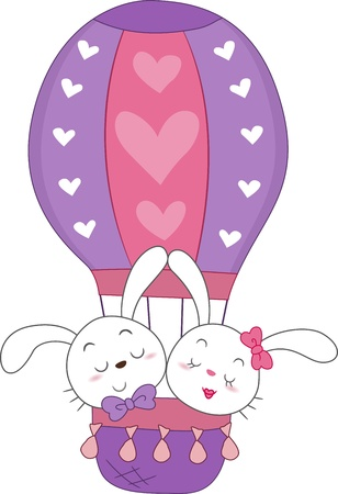 air animals: Illustration of a Pair of Bunnies in a Hot Air Balloon Stock Photo